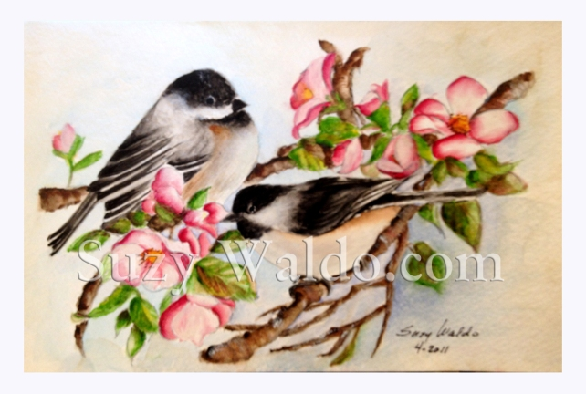 Chickadees and Cherry Blossoms